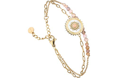 IKITA 2 Row Princess Chain Bracelet, Gold-Plated Rhodonite