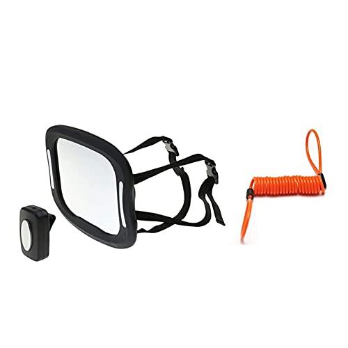 YAOXINGHUA Asiento de Coche retrovisor Espejo bebé visión Espejo Remoto Luces led Luces retrovisor acrílico abs 360 Grados rotación (Color : Black)