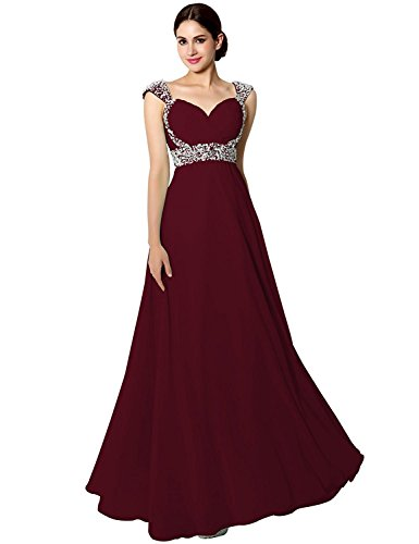 Sarahbridal Women's Chiffon Long Prom Dress Beaded Sequin Bridesmaid Gowns Cap Sleeve Burgundy US2 (Apparel)