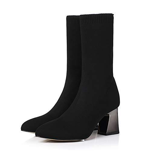 Willsky Botines De Mujer Gruesas con Calcetines Calcetines De Punto Elástico Antideslizante Casual Otoño E Invierno Negro,Black,36