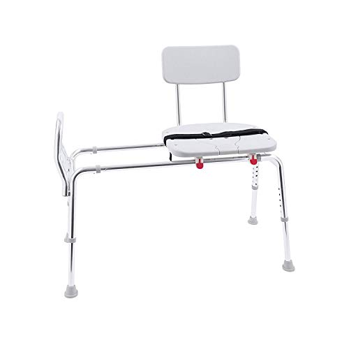 Eagle Health Supplies Sliding Shower Transfer Bench with Cut-out Seat and Adjustable Height, Rust-Resistant, No Tool Assembly, 17.75 x 14.75 Inches