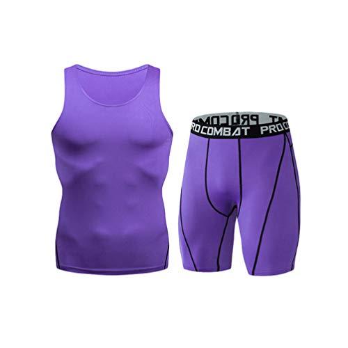 YiiJee Herren Sport Set Schnelltrocknend Fitness Tank Top T-Shirt Base Layer Jogging Kurz Hose Lila XL