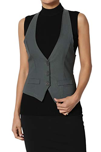 TheMogan Junior's Dressy Casual Racerback Slim Suit Vest Waistcoat Charcoal 3XL