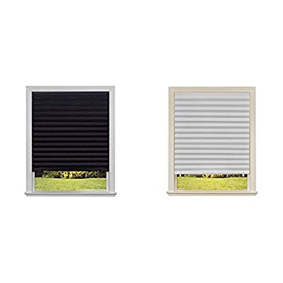 """Original Blackout Pleated Paper Shade Black, 36"""" x 72"""", 6-Pack & Light Filtering Pleated Paper Shade White, 48"""" x 90"""", 2-Pack"""