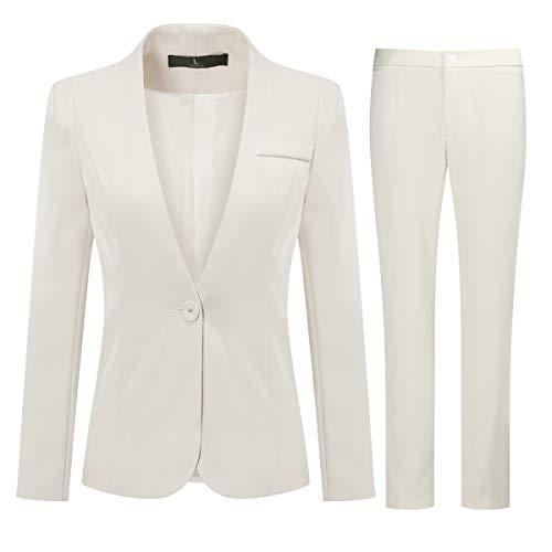 YYNUDA Hosenanzug Damen Business Anzug Set 2 Tellig Hochzeit Outfit mit Blazer Anzughose Elegangt