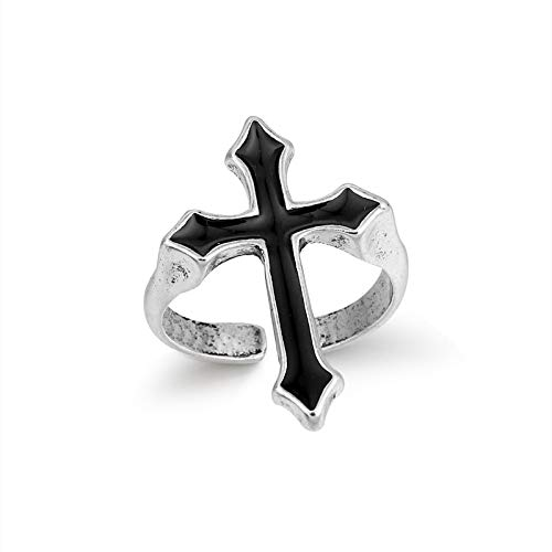 Anillo abierto vintage negro grande cruz anillo abierto para las mujeres partido joyería hombres moda gótico metal color