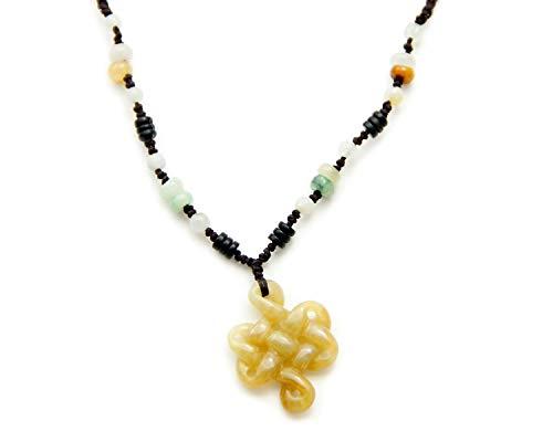 Agathe creation JCA1715 - Collana in giada con nodo senza fine, pietra di giada naturale (categoria A), portafortuna, fatto a mano