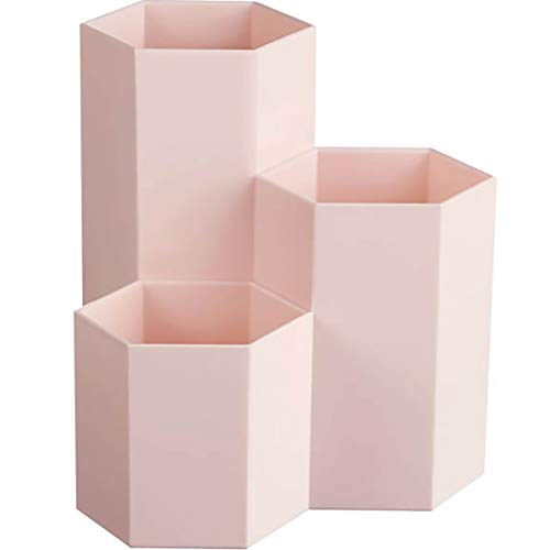 AhfuLife - Brocha de maquillaje multifunción, jarrón brocha hexagonal, bote portalápices, papelería almacenamiento, contenedor, decoración de escritorio (rosa)., color rosa