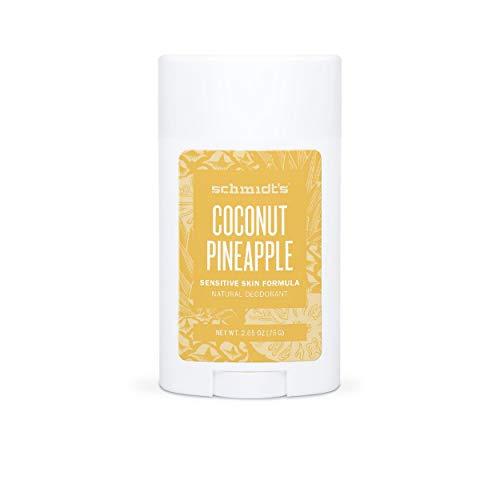 Schmidt's Déodorant d'Origine Naturelle Stick Ananas et Noix de Coco Efficace 24h Formule Pour Peaux Sensibles, Certifié Vegan 75g