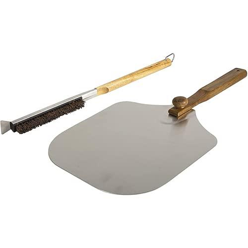 2 st bärbar hopfällbar aluminium pizzaskal sten rengöringsborste trähandtag kock kök ugn tillbehörssats BBQ bakverktyg