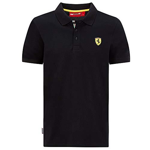 2020 Scuderia Ferrari F1 Herren-T-Shirt, offizielle Fanwege-Kollektion, Schwarzes klassisches Poloshirt, Mens (XXL) Chest 120-124cm