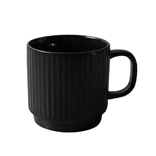 Tasse à café Coupe rayée, tasse de lait de chambre à coucher partie thé noir tasse de bière tasse céramique ménage tasse salon cuisine tasse capacité 350 ml Service à thé (Couleur : Noir)
