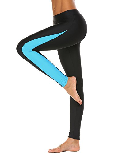 Ekouaer Womens Surfing Leggings Swimming Tights Sports Trousers Compression for Yoga Wear, Running, Blue, X-Large