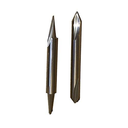 """FOOS Wood Carving 2 sides 2pcs set - 90°/60° V-groove & 20° profile/15° carving liner - solid carbide router bit 1/4"""" shank"""