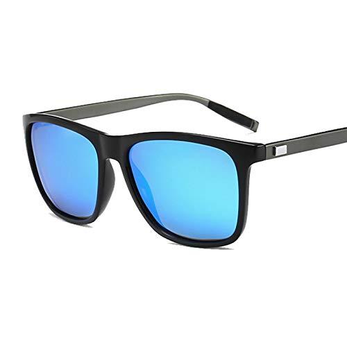 NJJX Gafas De Sol Polarizadas Negras Vintage Para Hombre, Gafas De Sol De Lujo Para Hombre Y Mujer, Espejo Colorido, Conducción Al Aire Libre, Negro, Azul
