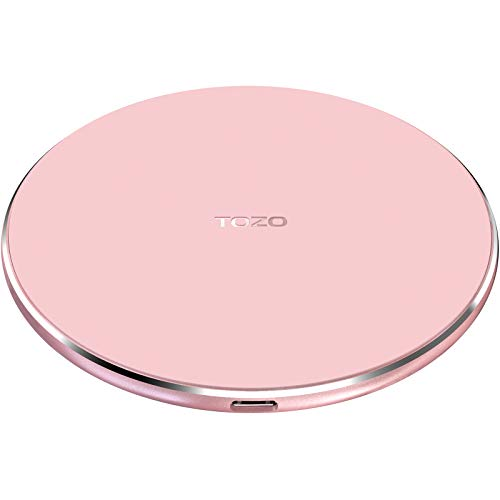 TOZO W1 Fast Wireless Charger Kabellos Qi Induktions Ladegerät Ultra Thin Aviation Aluminium CNC Unibody Charger Ladepad Pink (KEIN AC Adapter)