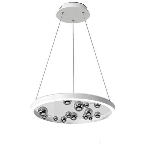 Modern Dimmable LED Pendant Lamp Minimalist Ring Design Pendant Lamp Chrome Glass Ball Decorative Pendant Lamp Acrylic Screen LED Lamp Dining Table Pendant Lamp,? 60cm