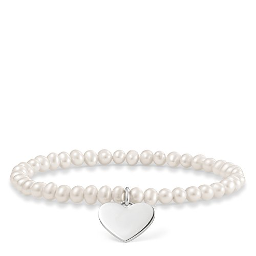 Thomas Sabo Damen-Armband Love Bridge Herz 925 Sterling Silber Süßwasserzuchtperle weiß Länge 15.5 cm LBA0046-082-14-L15,5