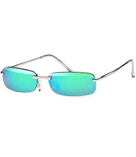 Caripe sportliche Sonnenbrille Herren rechteckig rahmenlos verspiegelt, herso (One Size, 5000 bluegreen verspiegelt)