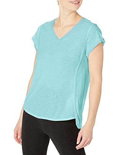 Calvin Klein Performance Damen Rolled Cuff Short Sleeve Tee T-Shirt, Crystal Blue, XX-Large