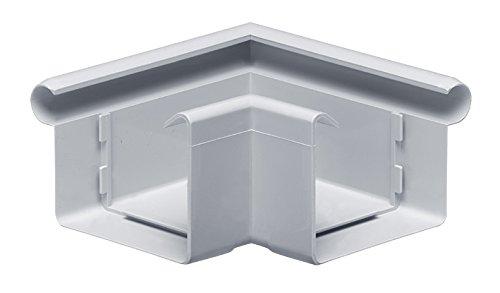 INEFA Rinnenwinkel 90° kastenförmig Wulst außen Grau NW 68, Kunststoff, Verbindungsstück, Dachrinne- Zubehör für Gartenhaus