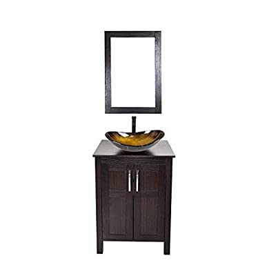 24 Inch Bathroom Vanity Set with Sink PVC Board Cabinet Vanity Combo with Counter Top Glass Vessel Sink Vanity Mirror and 1.5 GPM Faucet