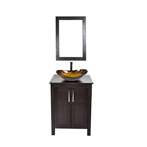 24 Inch Bathroom Vanity Set With Sink Pvc Board Cabinet Vanity Combo With Counter Top Glass Vessel Sink Vanity Mirror And 1 5 Gpm Faucet Buy Online In India At Desertcart 113274209