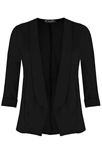 Fashion Star Womens Ladies 3/4 Turn Up Sleeve Open Front Collar Casual Coat Blazer Jacket Black