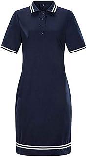 Women's dress plus size 6XL oversize knee dress (Color : Deep blue, Size : 6XL)