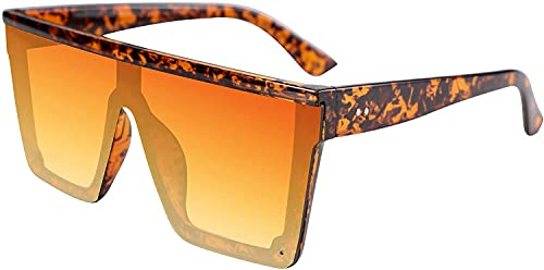Gafas de sol clásicas de gran tamaño para hombres y mujeres, sin montura cuadrada, UV400 retro con marcos grandes (tortuga, 60 mm)