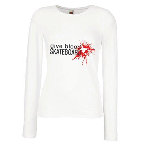 Vrouwelijke lange mouwen T-shirt Gib bloed skateboard! - Grappige skateboard citaten, Pro skater.