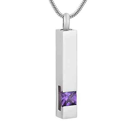 KBFDWEC Colgante de urna de Recuerdo de Piedra de Nacimiento, Collar de Acero Inoxidable con Barra de Cristal, Collar conmemorativo, joyería de Cenizas para Mujer