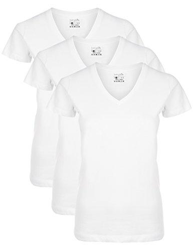 Berydale BD158 Camiseta de manga corta con cuello de pico, Blanco, M, Pack de 3