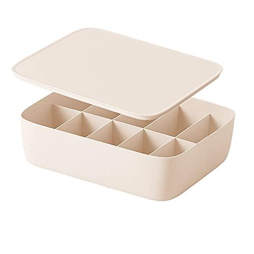 Organizador De Ropa De Plástico Con Caja De Almacenamiento Con Tapa Para La Gestión De Artículos De Cocina Y Baño Beige