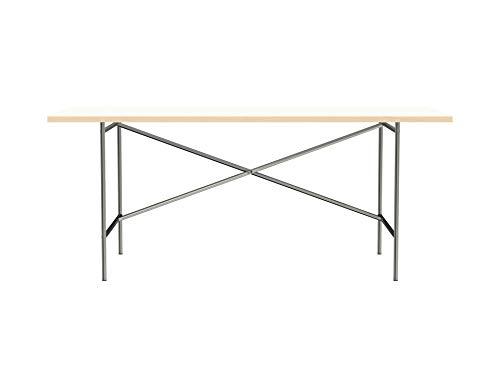 Modulor Tisch E2 mit pulverbeschichtetem Tischgestell und seidenmatter Tischplatte (90 x 180 cm, farblos und weiß)