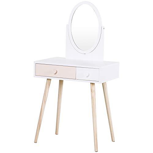 HOMCOM Kinder-Schminktisch mit Spiegel, Kosmetiktisch, Schreibtisch, Frisiertisch, 2 Schubladen, Massivholz Weiß 69 x 49 x 136 cm