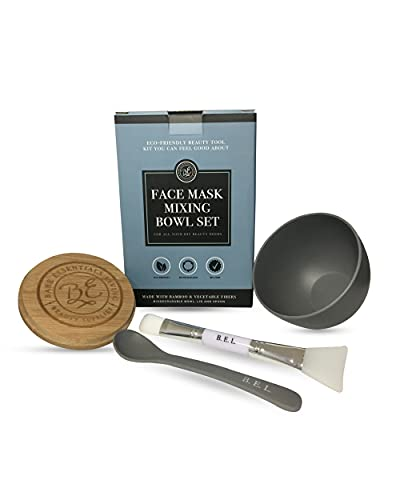 Clay Face Mask Mixing Bowl Set- Kit with Bamboo Lid, Spoon, Dual Sided Face Mask Brush Applicator Soft Silicone Spatula and Face Mask Brush for DIY Clay Mud Mask, Facials, Body and Hair (Grey)