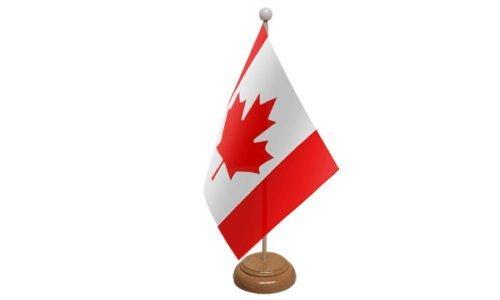 CANADA PETIT DRAPEAU DE TABLE AVEC SOCLE EN BOIS + 59mm Insigne de bouton
