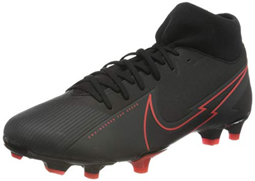 Nike Superfly 7 Academy FG/MG, Football Shoe Unisex-Adulto, Black/Black-Dark Smoke Grey-Chile Red, 40 EU