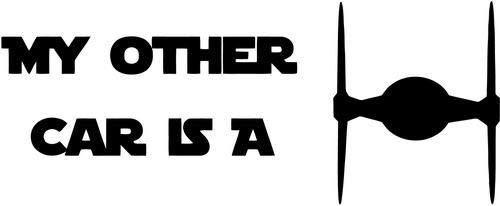 Crazydecals My Other Car is A Tie Fighter Vinyl Decal Car Window Bumper Truck Wall Decor Sticker- 6' Wide Gloss White Color