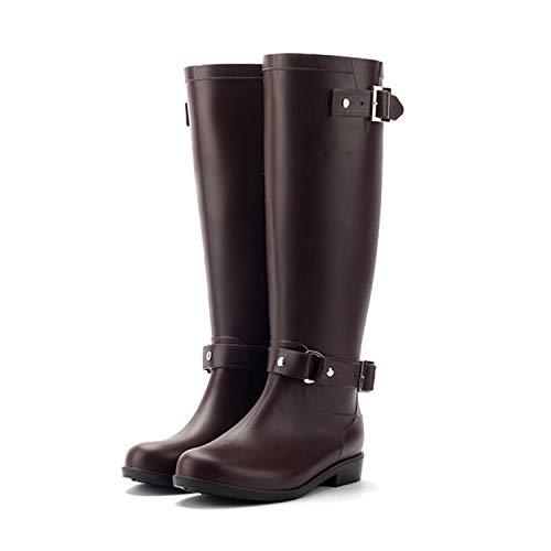 AONEGOLD Botas de Agua Mujer Lluvia Altas Zapato Impermeables Ajustable Cremallera y Hebilla Goma Botas Wellington(Marrón,36 EU)