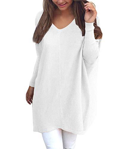 YOINS Bluza damska na co dzień, sweter z dzianiny z długim rękawem, górna część na jesień, jednokolorowa, długa, dekolt w kształcie litery V, do noszenia na co dzień, bluzka luźna