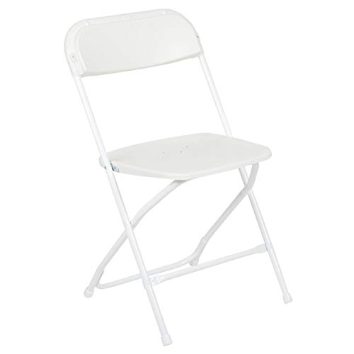 Flash Furniture Serie Hercules Silla Plegable de plástico de Alta Calidad, Capacidad 294,8 kg, Color Blanco