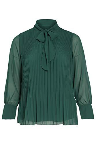 PAPRIKA Damen große Größen Plissee-Bluse mit Schluppenkragen Lange Ärmel