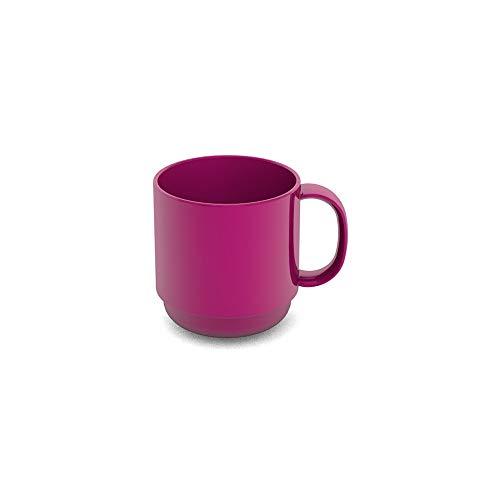 Ornamin Becher 220 ml brombeer (Modell 508) / Mehrweg-Becher Kunststoff, Kaffeebecher, Henkelbecher