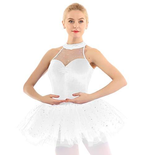 YiZYiF Vestito da Balletto Donna Body Tutu Danza Classica Ricamo Strass Velluto Vestito Pattinaggio Artistico Tutu da Balletto Elegante Swan Cigno Abito Ballo Latino Dancewear Bianco Medium