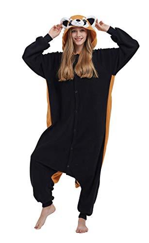 SAMGU Adult Pyjama Cosplay Tier Onesie Body Nachtwäsche Kleid Overall Animal Sleepwear Erwachsene Schwarz + Braun XL