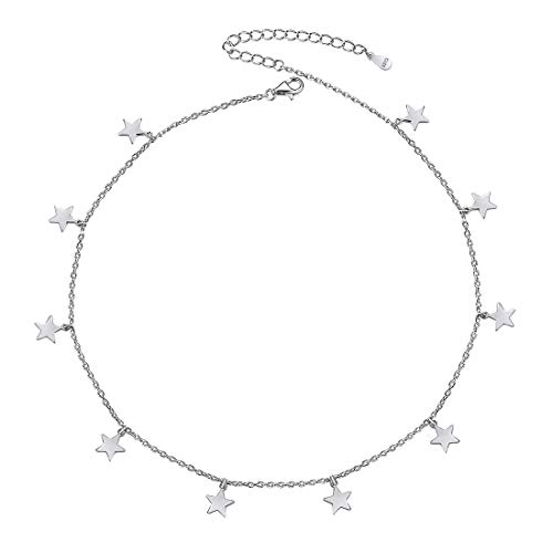 Charm Stars Choker Necklace for Women Girls 925 Sterling Silver Collar Neck Jewelry 33cm+5cm Extended Chain