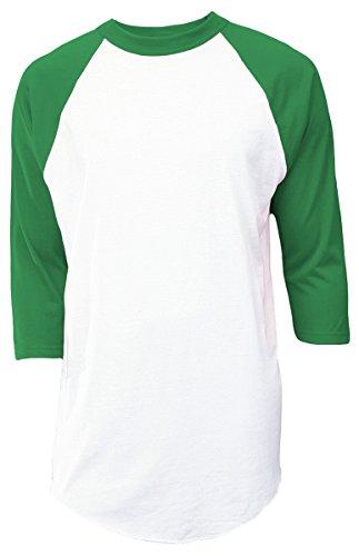 Soffe Mens Classic Raglan 3/4 Sleeve T-Shirt White/Green S