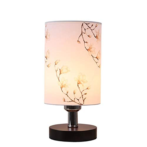 NYDZ Tafellamp, minimalistische stof, kleine bureaulamp, tafellamp van massief hout, led-bedlampje, bedlampje, rond bedlampje voor slaapkamer, woonkamer, eettafel, kantoor